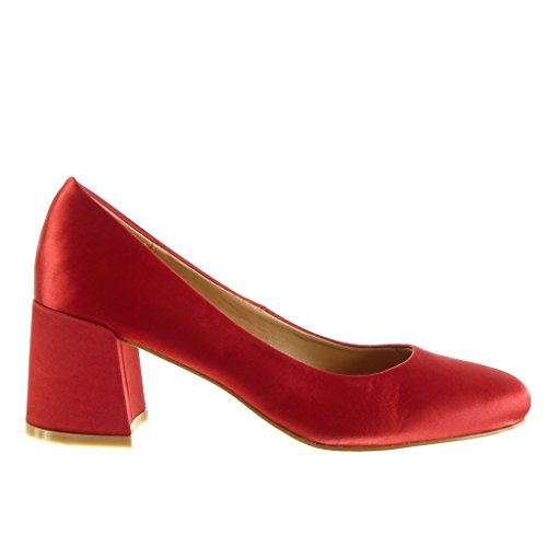 Mode Rouge 6 Femme Cm Haut Slip Chaussure 5 Bloc Talon on Angkorly Escarpin HqA75A