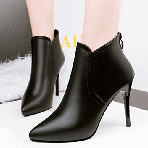 Black Boots Shoes Martin Boots Women'S The KPHY Zipper High Sexy New Velvet Girl And Autumn Boots Boots Fine Heeled Winter With Pointed Single xwqCBT