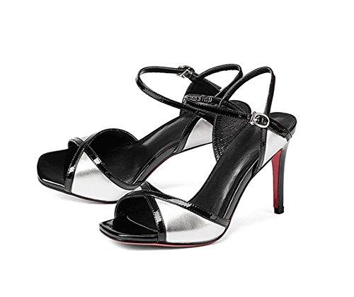 LBLX Printemps Et Été Véritable Mode en Cuir Europe Et Amérique Sexy Tempérament Slim Haut Talon Chaussures pour Femmes Silver 8PbC1