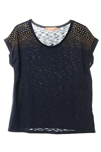 Ellen Tracy Women's Gold Studded Blouse Small Navy