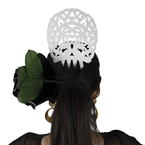 Comb Spanish - Ole Ole Flamenco Comb for Hair White Flamenco Dancer Spanish Combs Peineta Flamenco Blanca Ornamental Hair Pins
