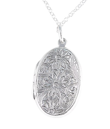 Sterling-Silver-Floral-Pattern-Large-Oval-Locket-Necklace