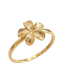 Dainty 10k Yellow Gold Hawaiian Plumeria Flower Ring