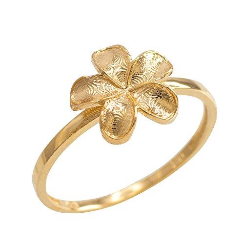 Dainty 10k Yellow Gold Hawaiian Plumeria Flower Ring (Size 6) ()