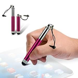 Mini retráctil lápiz capacitivo rosa para Sony Ericsson Spiro pantalla táctil teléfono móvil