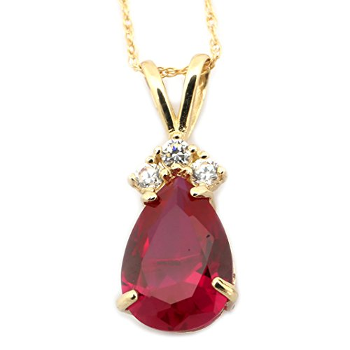 14k Yellow Gold July Birthstone Simulated Ruby CZ Pear Cut Teardrop Pendant Necklace - 15