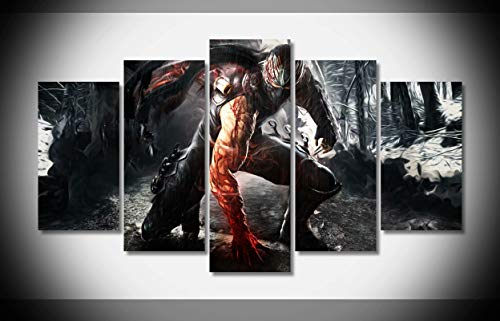 My Canvas Art 5pcs Ninja Gaiden Artwork Prints for Living Room Home Decoration Framed Ready to Hang
