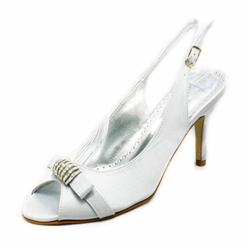 SendIt4Me Ladies Satin Open Toe Sling Back high Heel Party Shoes with Diamante Detail Silver