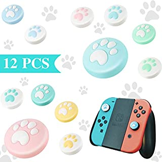 12 Pieces Cute Cat Claw Design Thumb Grip Caps, Thumb Grips Analog Stick Cover Soft Silicone Cover Joystick Cap Compatible with Nintendo Switch, Switch Lite and Joy-Con Controller