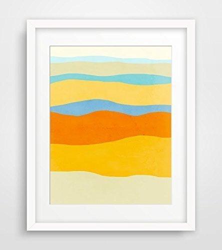 Amazon.com: Abstract Wall Art Print in Yellow, Blue and Orange, Home ...