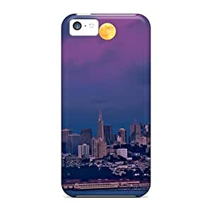 Hot Tpu Cover Case For Iphone/ 5c Case Cover Skin - Moon Over San Francisco