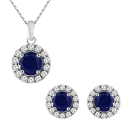 Jewelry Zirconia Cubic Sapphire (925 Sterling Silver 3.00 Ct.Round Cut Blue Sapphire & CZ Earrings Pendant Jewelry Set (Free Silver Chain))
