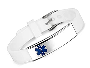 JF.JEWELRY Custom Engraved Medical ID Alert Bracelet for Kids Silicone Band & Stainless Steel Tag