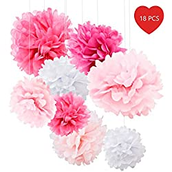18pcs Tissue Paper Flowers - Pink Party Decorations - Tissue Paper Pom Poms For Baby Shower, Wedding, Birthday - Paper Pom Pom Set