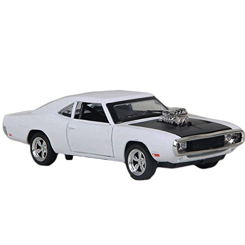 MyLifeUNIT 1:32 Dodge Charger 1970 Alloy Die-cast Car Model Collection light &Sound(White) 1970 Collection