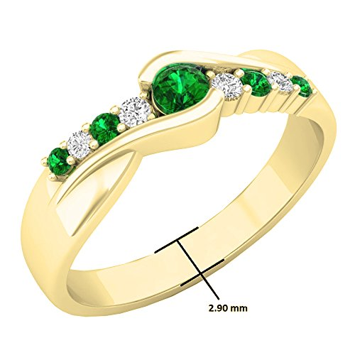 DazzlingRock Collection 10K Yellow Gold Round Cut Emerald & Diamond Ladies Bypass Engagement Ring 1/4 CT (Size 5.5) - Emerald Cut Diamond Ring Settings