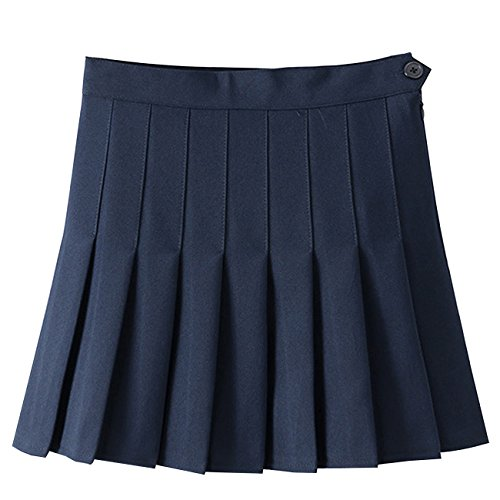 MorySong Womens Stylish Slim High Waist Pleated Tennis Skirts Short M Navy Blue