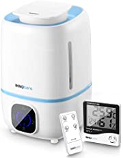 3.0 L Air Humidifier for Baby Ultrasonic Cool Mist Super Quiet for Children Elders Adults Plants, Auto Shut-Off Lasts All Night with Remote Control +Thermo-Hygrometer Clock InnoBeta Fountain
