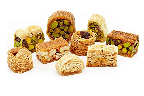 Baklava (Baklawa) Assortment Arabic Sweets  85 Pieces (26 Oz)  Pistachio Cashew Nuts, Gourmet Oriental Dessert, Middle Eastern Baklava Pastry  Gluten-Free, Non-GMO, Light Treats in Elegant Gift Box