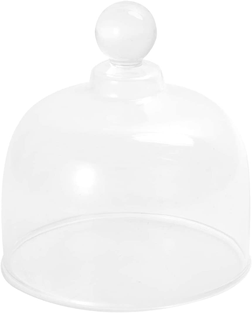 Cabilock Glass Cloche with Top Handle Bell Jar Clear Display Dome Cake Cover Desert Cloche Decorative Glass Cover for Fruit Food Cupcakes