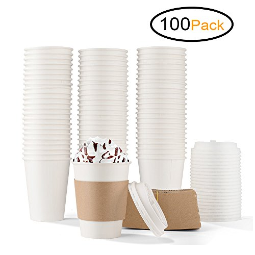 Cup Corrugated (Durable White Paper Hot Coffee Cups with Cappuccino Lids and Protective Corrugated Cup Sleeves, Pack of 100 (12 Ounce))