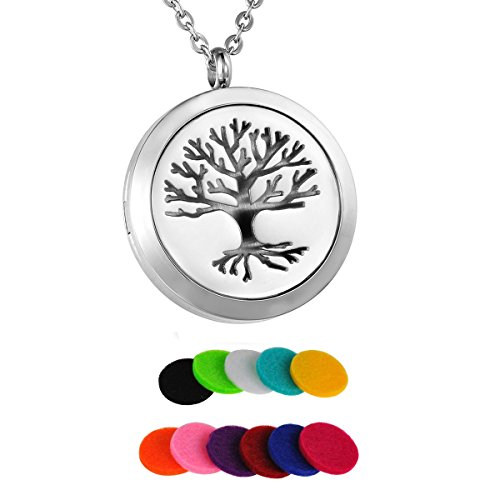 Pendant Surgical Round Steel - HooAMI Aromatherapy Essential Oil Diffuser Necklace Tree of Life Stainless Steel Locket Pendant