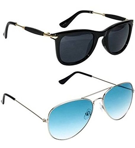 28891ee0bad Sheomy Fashion Wayfarer Goggle And Sunglasses Ideal For Men Women Boys And  Girls (Golden Rubber Stick Blue Mercury Square Wayfarer)