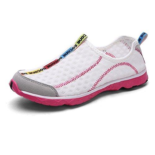 iLory Aquaschuhe / Wasserschuhe / Badeschuhe / Surfschuhe / Strandschuhe für Damen und Herren Weiß Pink Größe 40