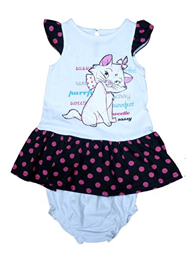 Disney Infant Girl Aristocats White Dot Ruffled Kitty Cat Marie Sun Dress 3-6m