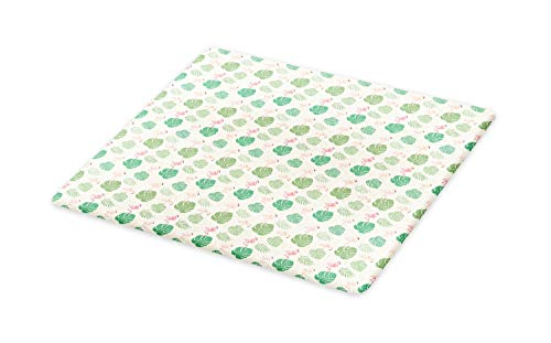 Lunarable Tropical Cutting Board, Exotic Flamingos with Monstera and Palm Leaves, Decorative Tempered Glass Cutting and Serving Board, Large Size, Ivory Pastel Pink Peacock Green Sea Green