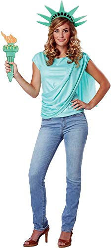 Miss Statue of Liberty Independence Shirt Crown Torch Attire Costume Adult -