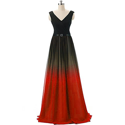 - Dydsz Evening Prom Dresses for Women Long Formal Party Gown Plus Size Ombre Chiffon D221 Red 10