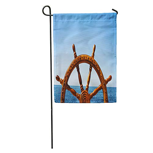 Semtomn Garden Flag Blue Boat Old Vintage Wooden Helm Wheel Brown Captain Sail Home Yard House Decor Barnner Outdoor Stand 12x18 Inches Flag