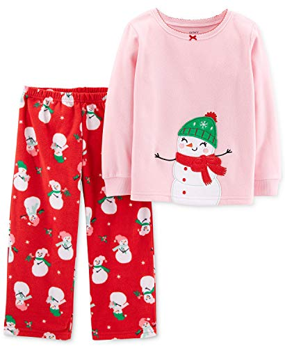 Carter's Toddler Girls Holiday Snowman Pajamas 2 pc Fleece,Pink/Red,4T