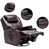 windaze Massage Recliner Chair, 360 Degree Swivel Heated Recliner Bonded Leather Sofa Chair with 8 Vibration...