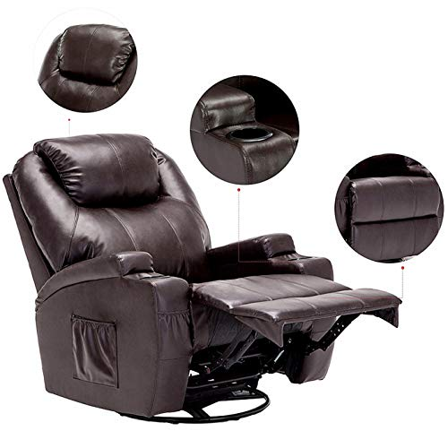 Rocker Upholstered Brown (windaze Massage Recliner Chair, 360 Degree Swivel Heated Recliner Bonded Leather Sofa Chair with 8 Vibration Motors,Brown)