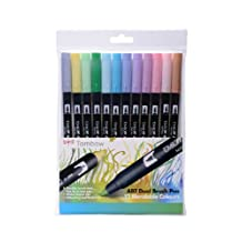 Tombow : Dual Tip Blendable Brush Pens : Pastel Colours : Pack of 12