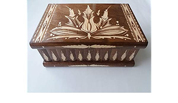 Caja gigante puzzle de madera marron más grande del rompecabezas marrón, caja mágica secreta, caja de almacenaje tallada especial de joyería, cajón ocultado, caja del baratija: Amazon.es: Handmade