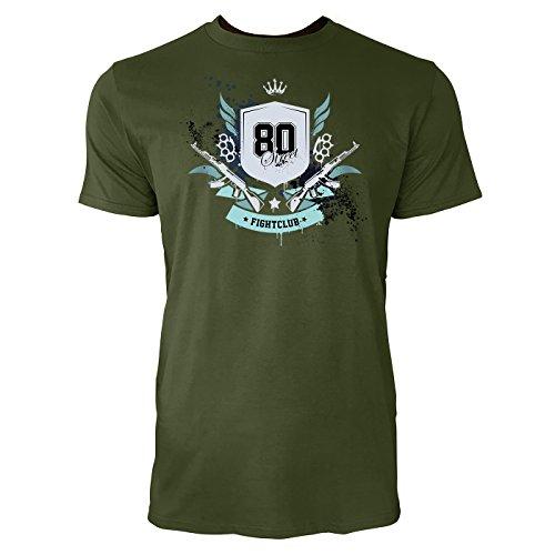 SINUS ART ® Fight Club 80 mit Gewehren und Krone 80 Herren T-Shirts in Armee Grün Fun Shirt mit tollen Aufdruck