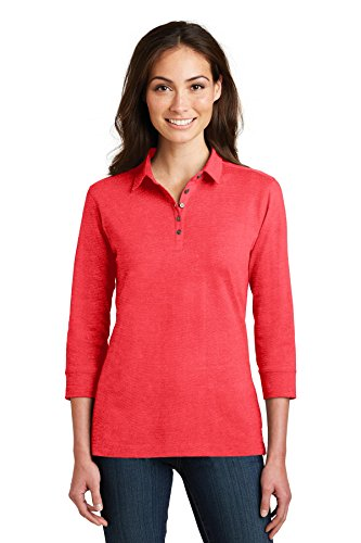 Port Authority Ladies 3/4-Sleeve Meridian Cotton Blend Polo. L578 Hibiscus Pink
