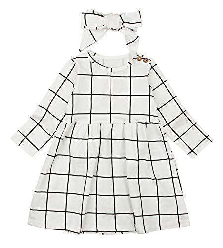 Miward Little Kids Baby Girl Dresses White and Black Plaid Tutu Skirt Party Princess Formal Outfit Clothes (2-3 Years, White 2) for $<!--$10.99-->