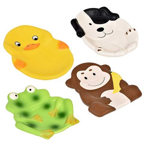 Animal Friends 4 Ceramic SOAP Dishes Monkey, Frog, Dog, Duck