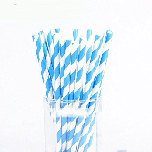Euone 25PCS Drink Paper Straws Birthday Party Supplies Theme Baby Shower (D)