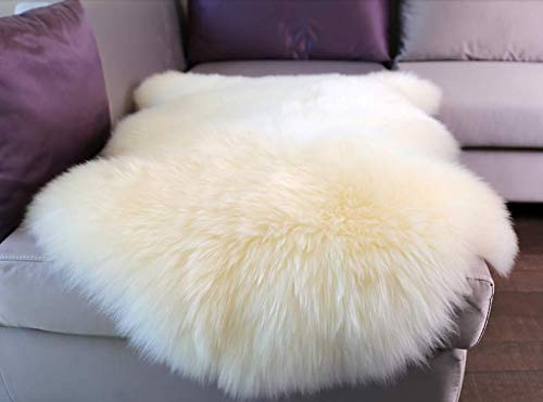 Woolous Genuine New Zealand Sheepskin Rug Area One Pelt Ivory Natural Fur, Single,2x3 feet (Ivory)