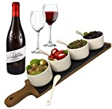 Solander Skelf Acacia Wooden Tray Cheese Slate Board SET | Long | 4-pieces Ceramic Round Dipping Bowls with 4 Tasting Ceramic Spoons Modern Dips Set | Elegant Serving Tray
