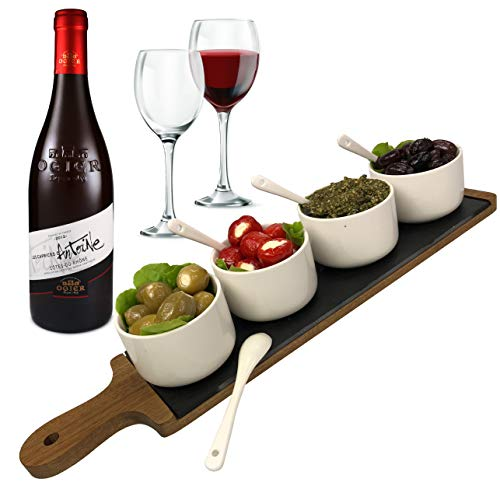 Solander Skelf Serving Tray Acacia Wood and Slate | A Deluxe Charcuterie Board Cheese Platter with 4-pieces Ceramic Round Dipping Bowls and Tasting Spoons | Modern Dip Set | Elegant Cheese Board