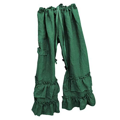 TOPUNDER Women Plus Size Solid Drawstring Linen Folds Casual Ruffled Pocket Loose Pants