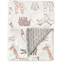 """Boritar Baby Blanket Soft Minky with Double Layer Dotted Backing, Lovely Animals Printed 30""""x40"""" Receiving Blanket"""