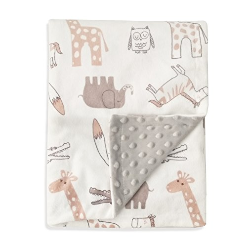 Boritar Baby Blanket Soft Minky with Double Layer Dotted Backing, Lovely Animals Printed 30 x 40 Inch Receiving - Blanket Receiving Layer
