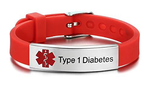 JF.JEWELRY Type 1 Diabetes Medical Alert ID Bracelet for Kids Adult with Silicone Wristband -8 Size...